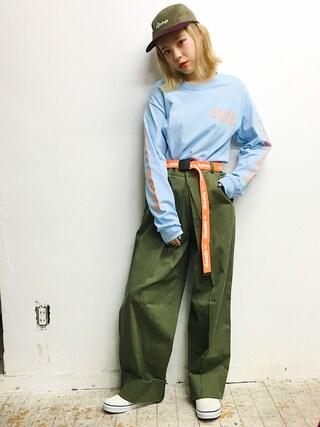 瀬戸あゆみさんの「BRING PIZZA L/S Tシャツ(Aymmy in the batty girls|エイミー インザ バッティー ガール)」を使ったコーディネート