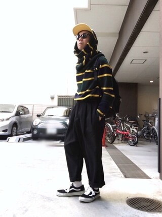 「sacai 16-1050M (GREEN×NAVY×YELLOW)(Sacai)」 using this Satoru looks