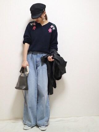 ❁Hana❁さんの「・ショルダー刺繍 長袖プルオーバー(SEVENDAYS=SUNDAY|セブンデイズサンデイ)」を使ったコーディネート