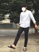 「MEN エクストラファインコットンブロードスタンドカラーシャツ(長袖)(ユニクロ)」 using this 小島よしお looks