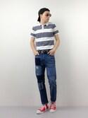 Thales Kauãさんの「プリントポロシャツ(ZIP FIVE|ジップファイブ)」を使ったコーディネート