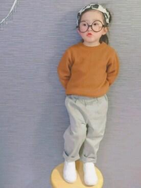 なた。さんの「【coen kids】コットンツイルタックテーパードパンツ(100~150cm)(coen|コーエン)」を使ったコーディネート