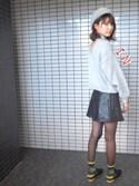 美優さんの「フェイクレザー A LINE ミニスカート(EMODA|エモダ)」を使ったコーディネート