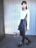 美優さんの「フェイクレザー A LINE ミニスカート(EMODA エモダ)」を使ったコーディネート