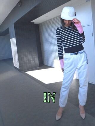 美優さんの「JOG PANTS W/ CHECKERED BELT(X-girl|エックスガール)」を使ったコーディネート
