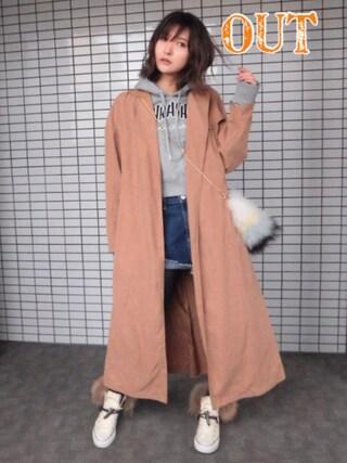 美優さんの「GOWN TRENCH JK F(MOUSSY|マウジー)」を使ったコーディネート