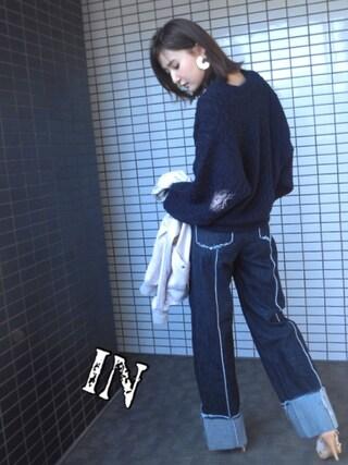 美優さんの「SEMI CIRCLE アクリルPEARL ピアス(SLY|スライ)」を使ったコーディネート