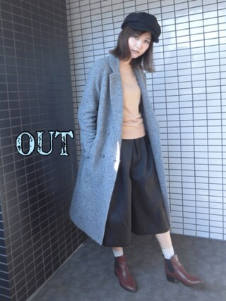 「WOOL-BLEND DOUBLE BREASTED CT(MOUSSY)」 using this 美優 looks