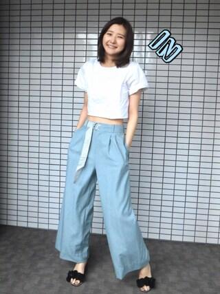 「ワイドパンツ(ELENDEEK)」 using this 美優 looks