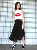 美優さんの「2WAYカバーフレアスカート(MURUA|ムルーア)」を使ったコーディネート