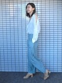 美優さんの「レースアップスリーブシャツ(MURUA|ムルーア)」を使ったコーディネート