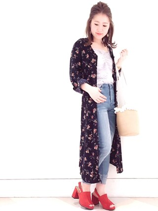 archives|archivesさんの「花柄シャツワンピース(archives|アルシーヴ)」を使ったコーディネート