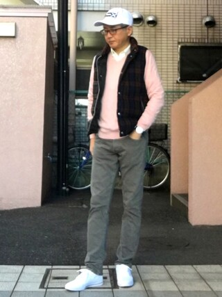 「MEN コットンカシミヤVネックセーター(長袖)(ユニクロ)」 using this HiRo looks