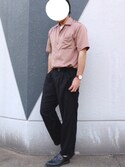yunさんの「【WEB限定】STUDIOUS フィブリルサテンオープンカラーシャツ(STUDIOUS|ステュディオス)」を使ったコーディネート
