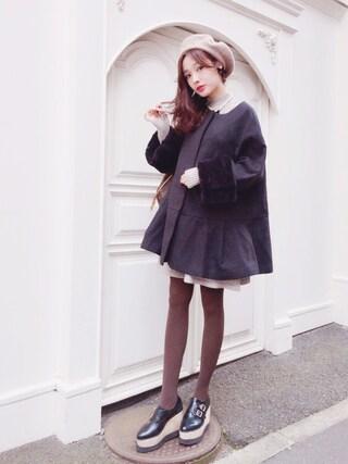 前田希美さんの「ファースリーブAラインコート(snidel スナイデル)」を使ったコーディネート