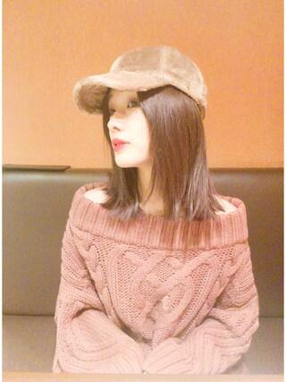 前田希美さんの「フェイクファーキャップ(studio CLIP スタディオクリップ)」を使ったコーディネート