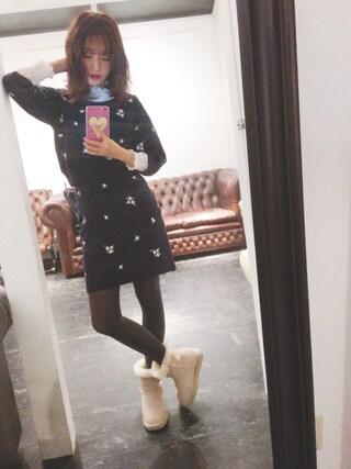 前田希美さんの「マーガレット刺繍ニットプルオーバー(dazzlin ダズリン)」を使ったコーディネート