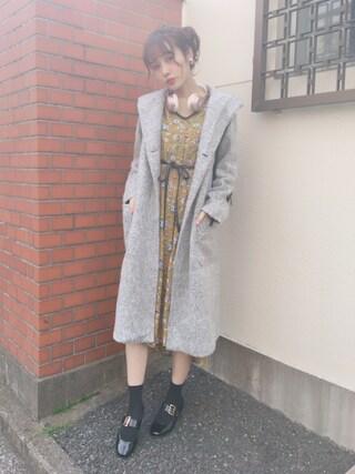 前田希美さんの「【予約】ブークレ起毛フードコート(w closet ダブルクローゼット)」を使ったコーディネート