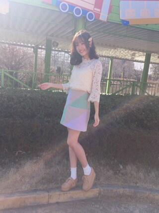 「ハイネックレースL/Sブラウス◆(REDYAZEL)」 using this 前田希美 looks