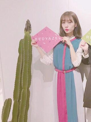 「プリーツバイカラーシャツワンピース◆(REDYAZEL)」 using this 前田希美 looks