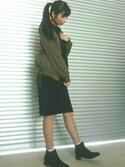 はるにゃんたさんの「(ブーツ) 3.5cmヒールサイドゴアショートブーツ 【大きいサイズ】【小さいサイズ】(夢展望|ユメテンボウ)」を使ったコーディネート
