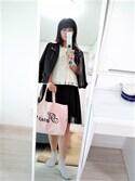 S♡N♡さんの「ダブルカラーボタンジッパー付き柔らかフェイクレザー長袖ライダースジャケット(select MOCA|セレクトモカ)」を使ったコーディネート
