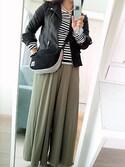 S♡N♡さんの「ダブルカラーボタンジッパー付き柔らかフェイクレザー長袖ライダースジャケット(select MOCA セレクトモカ)」を使ったコーディネート