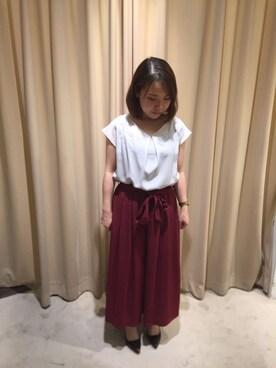 actuel アクア広島店|asakoさんの「【IW】ジョーゼット刺繍バックリボンブラウス(actuel)」を使ったコーディネート
