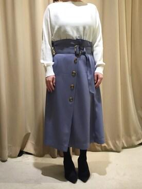 actuel アクア広島店|asakoさんの「Tツイルフレアスカート(INTERPLANET)」を使ったコーディネート