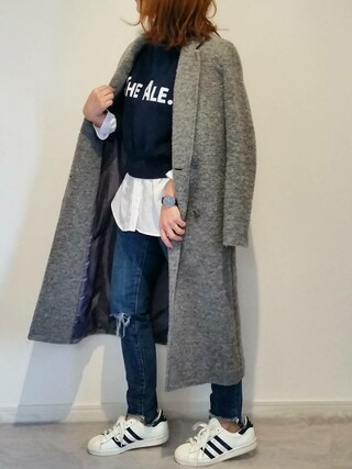 miさんの「WOOL-BLEND DOUBLE BREASTED CT(MOUSSY|マウジー)」を使ったコーディネート