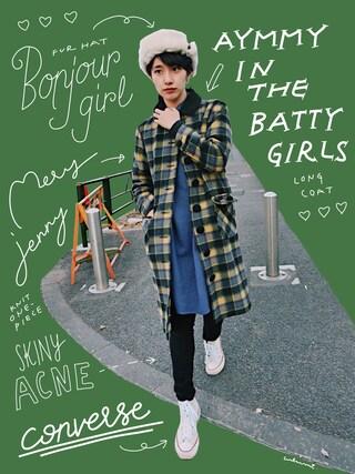 「VICE チェックメルトンコート(Aymmy in the batty girls)」 using this 中田クルミ looks