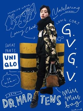 「X-girl x Larry Clark BIG SWEAT PULLOVER(X-girl)」 using this 中田クルミ looks