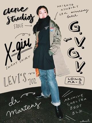 「RIOT GRRRL L/S TEE DRESS(X-girl)」 using this 中田クルミ looks