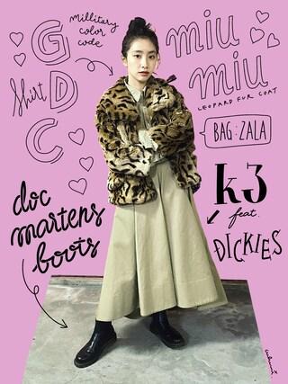 「Dickies×k3&co. Flare Skirt(k3&co)」 using this 中田クルミ looks
