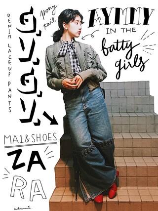 「AA CA ビッグリボンギンガムブラウス(Aymmy in the batty girls)」 using this 中田クルミ looks