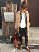清水夏姫さんの「レザー調トートバッグ(THE SHOP TK ザ ショップ ティーケー)」を使ったコーディネート