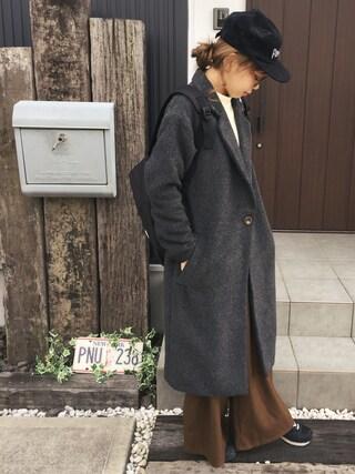 清水夏姫さんの「ロングチェスターコート(OZOC (オゾック)|オゾック)」を使ったコーディネート