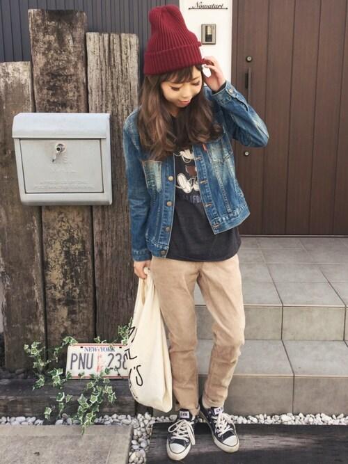 清水夏姫さんの「ストレッチコーデュロイスキニーパンツ(coen)」を使ったコーディネート