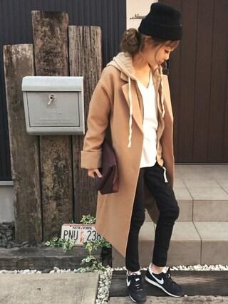 清水夏姫さんの「フェイクウールチェスターコート(OZOC|オゾック)」を使ったコーディネート