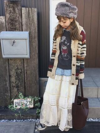 清水夏姫さんの「リメイクデニムシャツ(TODAYFUL|トゥデイフル)」を使ったコーディネート