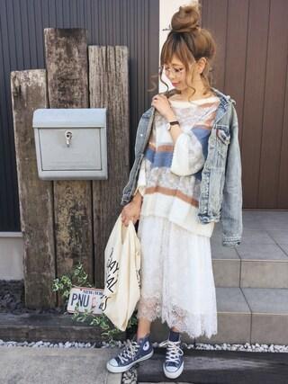 「ミックスヤーンボーダーニット(Ungrid)」 using this 清水夏姫 looks
