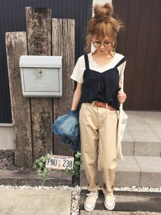 清水夏姫さんの「【Lady like】コットンレースビスチェ(Ungrid アングリッド)」を使ったコーディネート