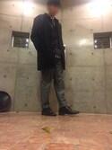 toshi さんの「MEN リネンコットンスタンドカラーシャツ(半袖)(ユニクロ|ユニクロ)」を使ったコーディネート