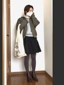 miki..さんの「軽くて暖かなベストアウター!中綿入りMA-1ブルゾンジャケット/アウター/レディース/コート/ライトアウター/神戸レタス[K678](KOBE LETTUCE|KOBE LETTUCE)」を使ったコーディネート