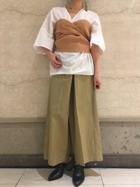 MIDWEST OSAKA LUCUA|saki enomotoさんの「08sircus コンパクトコットンVネックトップス(08sircus)」を使ったコーディネート
