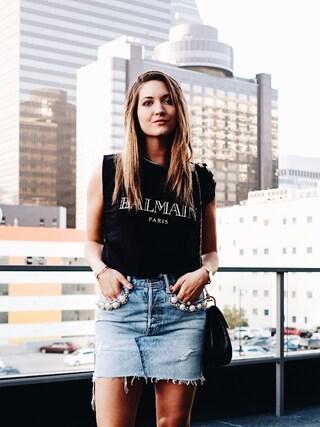 「Balmain - Embellished Printed Cotton-jersey Top - Black(Balmain)」 using this Bethany Marie looks