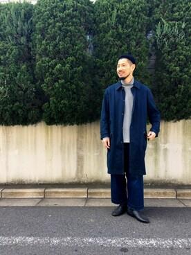 DESCENTE BLANC MARUNOUCHI MASATOSHIKOMORIさんのTシャツ/カットソー「ダブルニットタートル / DOUBLE KNIT TURTLE(DESCENTE デサント)」を使ったコーディネート