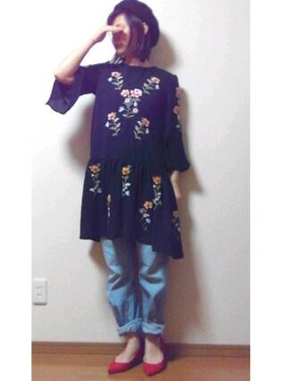 ❁ÿukko❁さんの「ヴィンテージジョーゼット刺繍ティアードワンピース(mysty woman|ミスティウーマン)」を使ったコーディネート