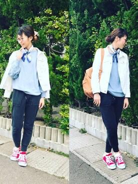 SHOO・LA・RUE|Ayumiさんのデニムジャケット「ストレッチデニムGジャン(SHOO・LA・RUE|シューラルー)」を使ったコーディネート