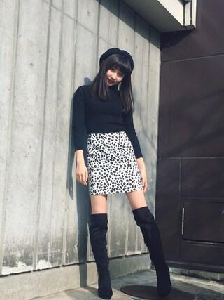 林萌々香さんの「アニマルパターンタイトミニSK(EVRIS|EVRIS)」を使ったコーディネート